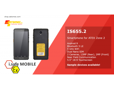 "i.safe Mobile IS655.2 - 5.5"" Smartphone für die ATEX Zone 2"